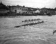 Husky crew and Indian canoe race, La Conner, November 29, 1941