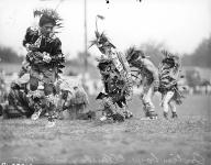Native Americans fancy dancing at the Ellensburg Rodeo, September 1945