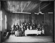 Clallam group portrait inside the Shaker church, Jamestown, Washington, ca.1903
