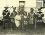 Chilkat Indians in dance costumes, Klukwan, Alaska, ca. 1895
