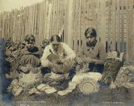 Tlingit women weaving baskets, Alaska, ca. 1897