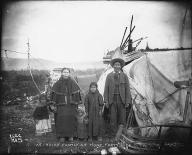Kutchin family outside home, Forty Mile City,  Yukon, ca. 1899