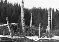 Haida totem poles at Old Kasaan village site, Alaska, ca. 1925