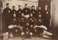 Alaskan Indian football team poses in uniform,  Alaska, ca. 1903