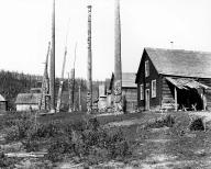 Gitksan totem poles and houses in village of Kitsegukla, British Columbia, 1910