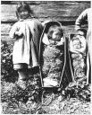 Gitksan children posed with infants in cradleboards,  Kitwanga, British Columbia, 1910