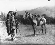 Nez Perce named  Charlie Wilpoken with spotted horse, Colville Indian Reservation, Washington, ca....