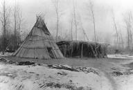 Colville winter tepee and a lean-to with ladder, Colville Indian Reservation, Nespelem,...