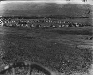 Colville tepees in circle, Nespelem, Washington, ca. 1900-1910.