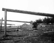 Lummi potlatch house in ruins, Lummi Reservation, Washington, 1905.
