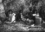 Chilkat women & children with supplies & barrel, Klukwan, Alaska 1894