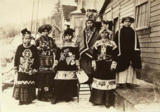 Tlingit women pose in ceremonial dress, Alaska, ca. 1910-1923.
