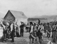 Tlingit dancers at potlatch, Klukwan, Alaska, October 14, 1898
