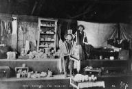Tlingit Chief Kaschish and wife pose inside home, Alaska, 1898