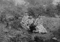 Puget Sound area young women sit on hillside, Washington, ca.1890-1893.