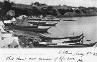 Canoes near village, Vancouver Island, British Columbia, ca. 1901.