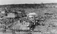 Athapascan Indian village with fish drying racks, Alaska, ca. 1905