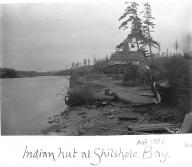 Duwamish house and canoe, Shilshole Bay, Seattle, Washington, ca.1898