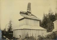 Haida grave house with carved whale on top, Kasaan Bay,  Alaska, ca. 1899