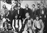 Spokane men pose at memorial feast for Chief Oliver Lot, June 24, 1909