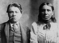 Puget Sound Salish couple pose for portrait, ca. 1901