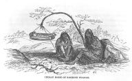 Chinook women rocking baby suspended in cradleboard, Oregon, in engraving made 1841