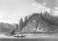 Kwakiutl village on a hillside, Bute Inlet, British Columbia,  in engraving made 1792
