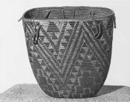 Cowlitz basket by Mary Kiona, from the Upper Cowlitz River area, Washington, ca. 1900