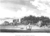 Nootka houses and canoes at Friendly Cove, Nootka Sound, British Columbia, in engraving made 1792