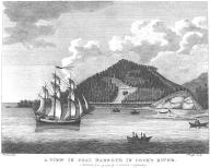 Nootka canoes approach three-masted ship, Coal Harbour (now Port Graham) Alaska, in engraving made...