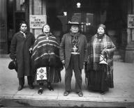 Two Yakama couples outside a Seattle hotel, January 29, 1921