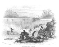 Chinookan men (possibly Clackamas) fishing at Willamette Falls, Oregon, in engraving made 1841