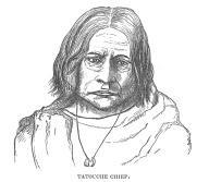 Makah man known as George from Tatouche, Tatoosh Island, Washington, in engraving made 1841
