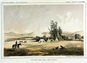 Salish encampment, Hell Gate Canyon area, Montana, in engraving made 1853