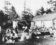 Makahs gather for a potlatch, Neah Bay, Washington, ca. 1923