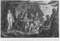 Tlingit men, women & child under lean-to, Lituya Bay, Alaska, in engraving made 1786