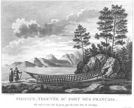 Tlingit man & woman near the frame of an ocean-going canoe, Lituya Bay, Alaska, in engraving...