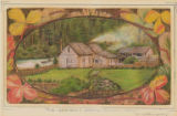 Quinault houses and a canoe on the Quinault River, near Taholah Washington,  in drawing made 1886