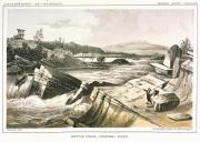Colville man & woman with fish net & basket at Kettle Falls, Washington, in engraving made...