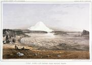 Skagit men & canoes and Mount Rainier seen from Whidbey Island, Washington, in engraving made...