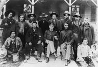 Spokane Chief Oliver Lot and William Three Mountains in group photo with other men, Colville...