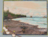 Quinault woman carrying wood on beach at Point Grenville Washington,  in drawing made ca.1885