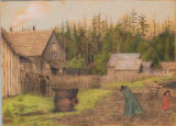 Quinault village of Taholah, Quinault Reservation, Washington,  in drawing made ca.1885
