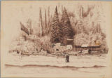 Quinault graveyard across the Quinault River from Taholah, Washington,  in drawing made ca. 1885