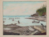 Quinault men netting & spear fishing at low tide, mouth of the Quinault River, Washington,  in...