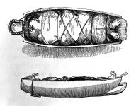 Chinook cradleboard with head-binding device, Columbia River area,  in engraving made 1839