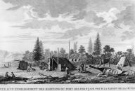 Tlingit fishing camp with drying fish and a canoe, Lituya Bay, Alaska, in engraving made 1786