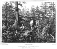 Tlingit mother & child walking in woods, Baranof Island  Alaska, in engraving made 1827