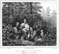 Tlingit women pick berries with a dog, Baranof Island  Alaska, in engraving made 1827