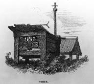 Tlingit painted grave box, Sitka area, Alaska,  in engraving made 1837